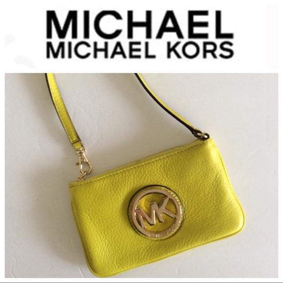 MICHAEL Michael Kors Handbags - MICHAEL KORS NEON YELLOW LEATHER WRISTLET